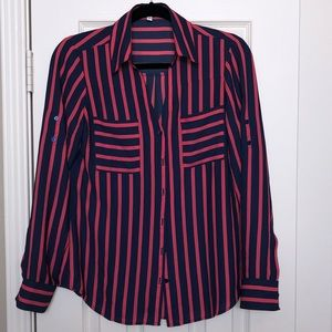 Express pink and navy blouse